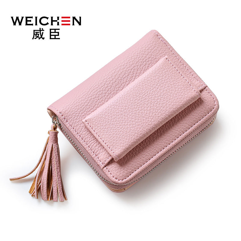 Brand Women Small Wallets Tassel Pendant Short Money Wallets PU Leather Lady Zipper Coin Pocket Purses Female Fashion Cardbag