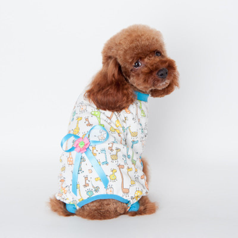 Pet dog clothes winter Home clothing dog four-legged clothes for small dogs cotton printing Teddy clothes print jumpsuit warm