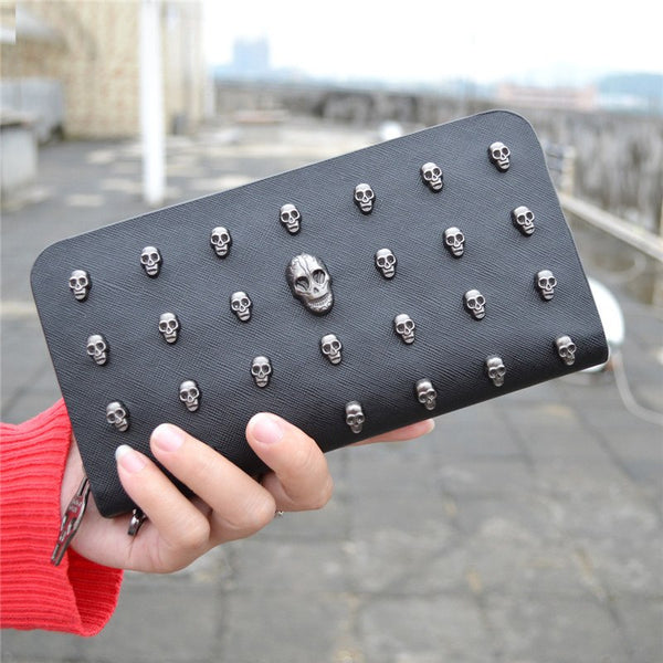 Hot Sale Women Wallets Metal Skull Wallet Card Purse Leather Wristlet Portefeuille Handbags Carteira Feminina