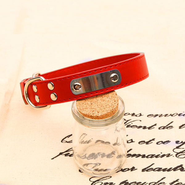 Pet dog collar leather Iron collar may lettering simple and durable affordable dog supplies Leather Small big large dog collar
