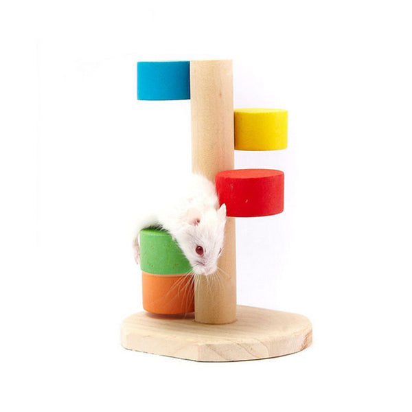 Natural Wooden Colorful Scaling Ladder Fun Play Pet Toys Rat Hamsters Toy Wooden Hamster Funny Exercise Lookout Tower Mouse Toys