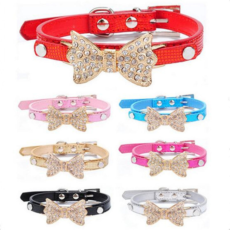 CW014 Cool Dog Collars Small Dogs Bling Crystal Bow Leather Pet Collar Puppy Choker Cat Necklace dog harness leash for dogs cats