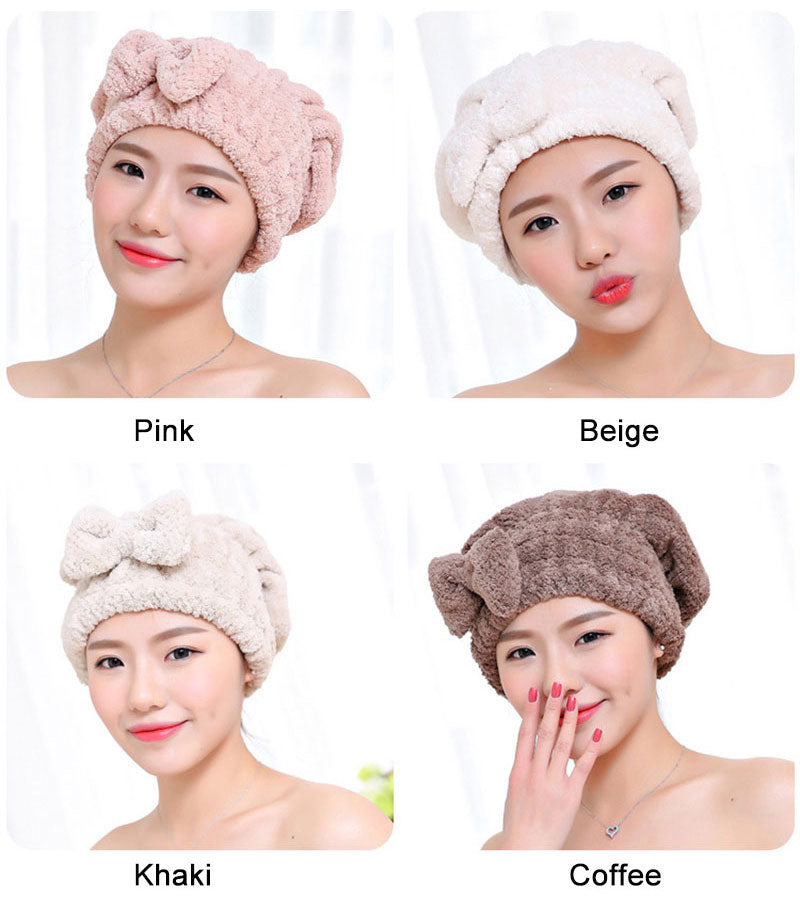 HELLOYOUNG Bowknot Women Bathroom Absorbent Quick-drying Polyester Cotton Bath Towel Hair Dry Cap Head Wrap Hat Salon Towel