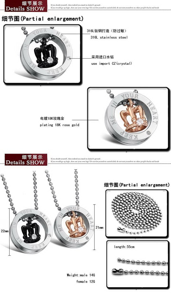 CIFBUY JEWELRY Christmas gift stainless steel Pendant circle pendant couple necklace Crystal inlay Hot Selling 603