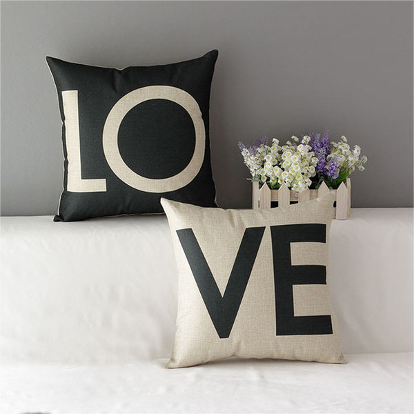43*43cm Car Throw Pillow Case Cotton Linen Sweet Lovers Romantic Love Letter Cushion Cover Decorative for Sofa