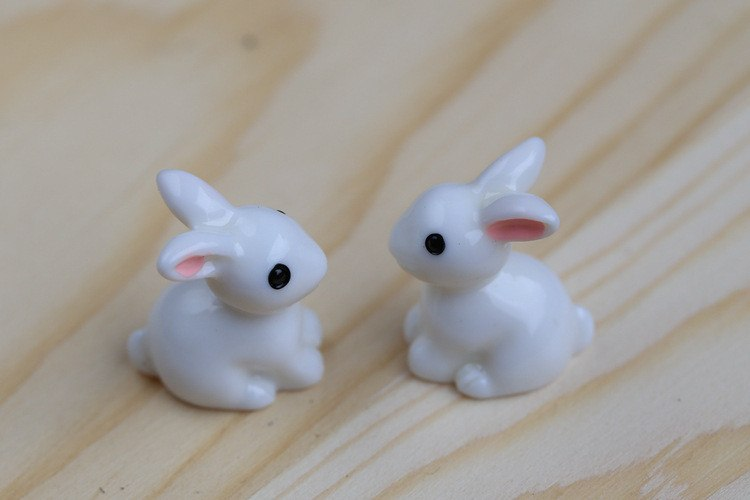 XBJ007 Mini 2 pcs Mini Rabbit Craft Garden Ornament Resin Crafts Decor Terrarium Figurines Fairy Garden Party Garden