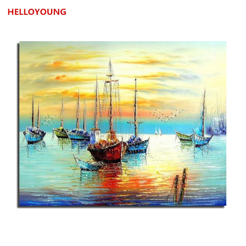 Boat on the sea Fishing Boat Digital Painting Handpainted Oil Painting by numbers oil paintings chinese scroll paintings