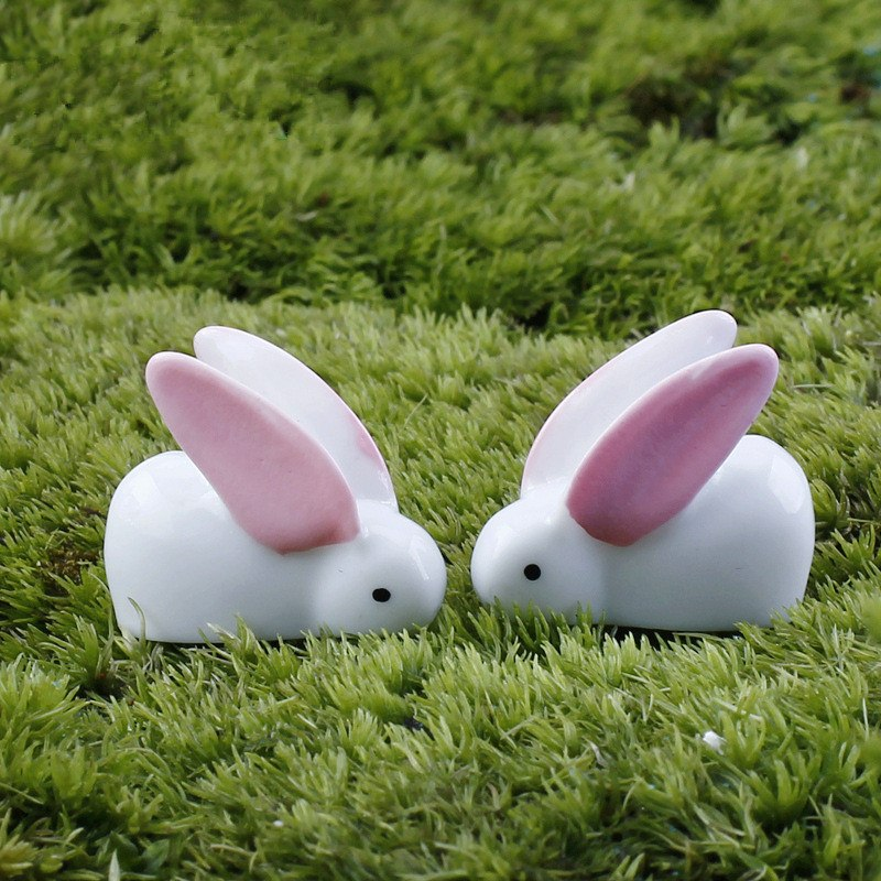 XBJ073 Mini 10 pcs Big ears white rabbit moss micro landscape decoration resin deco Garden deco Creative handicrafts