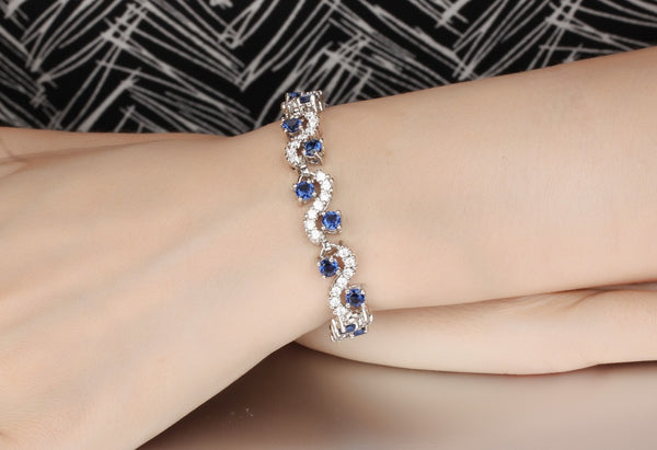 3A Cubic Zirconia Woman Bracelets Vintage Silver Color Blue/White Link Chain Women Jewelry 18.5cm Long DS459