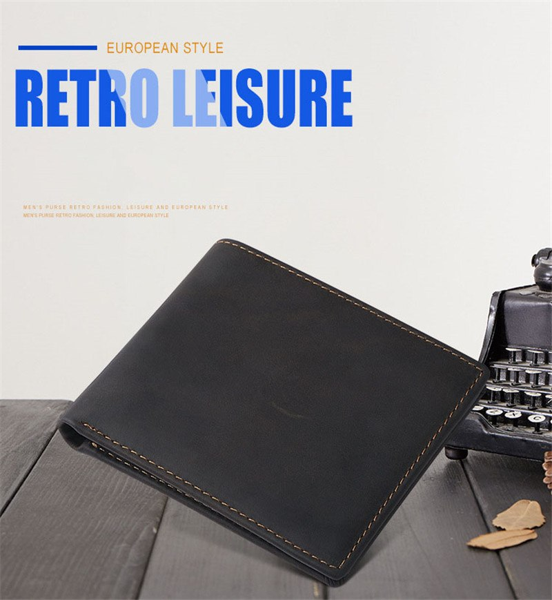 Simple short paragraph horizontal edition leather wallet leather leisure wallet purse retro crazy horse leather wallet