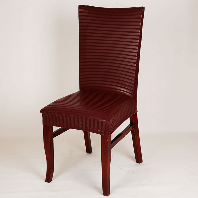 HELLOYOUNG PU Leather Elastic Chair Cover Home Decor Dining Stretch Chair Cover For Weddings Banquet Hotel Washable U1080