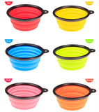 New Collapsible foldable silicone Pet dog bowl cat candy color outdoor travel portable puppy food container feeder dish on sale