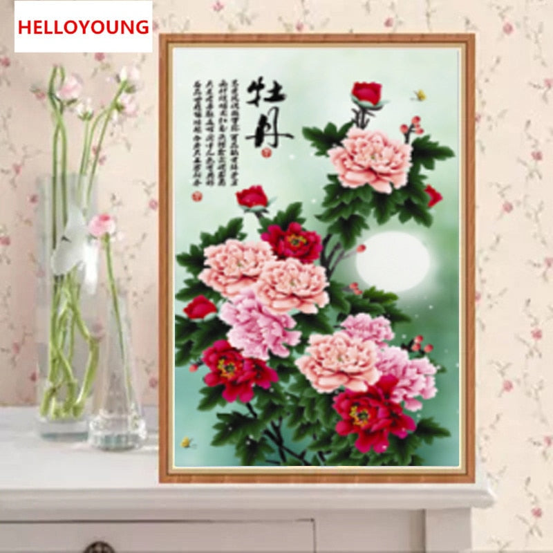 DIY 5D Diamond Embroidery Beautiful Peony Round Diamond Painting Cross Stitch Kits Diamond Mosaic Home Decoration