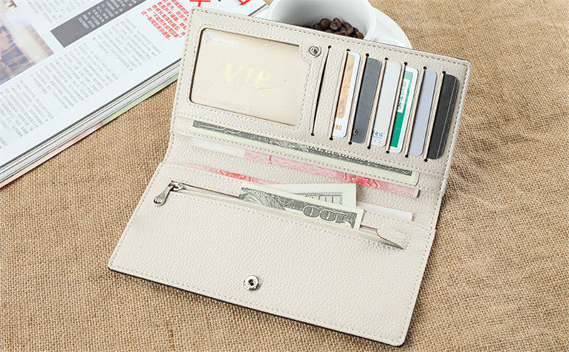 Fashionable young long men's wallet High quality PU leather clutch genuine South Korea cross-grain Card & ID wallet
