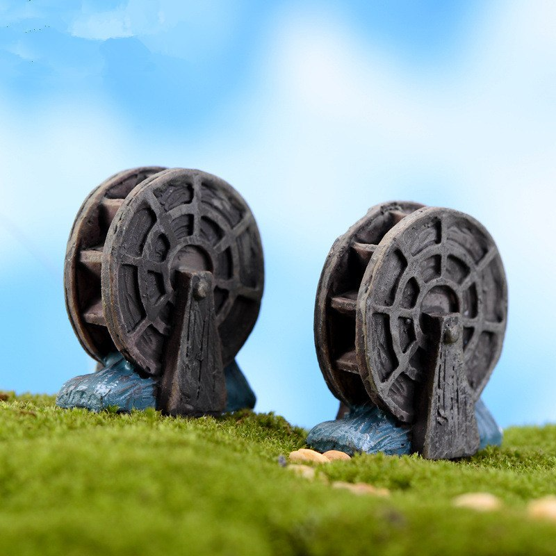 XBJ178 Mini 4pcs Mini waterwheel decoration supplies moss micro landscape deco  Garden deco Creative handicrafts