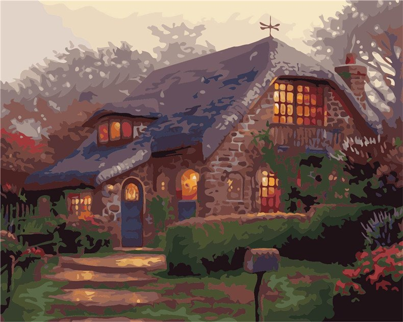 Jungle Lodge Deep Mountain Villa DIY Handpainted Oil Painting Digital Painting by numbers oil paintings chinese scroll paintings