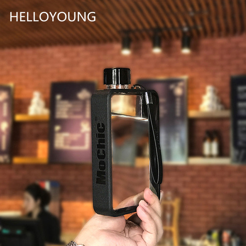 HELLOYOUNG A5 Notebook Paper Tritan Plastic Material Water Bottle Handy Portable Flat Kettle Sport Drinking Water Bottle 380ml