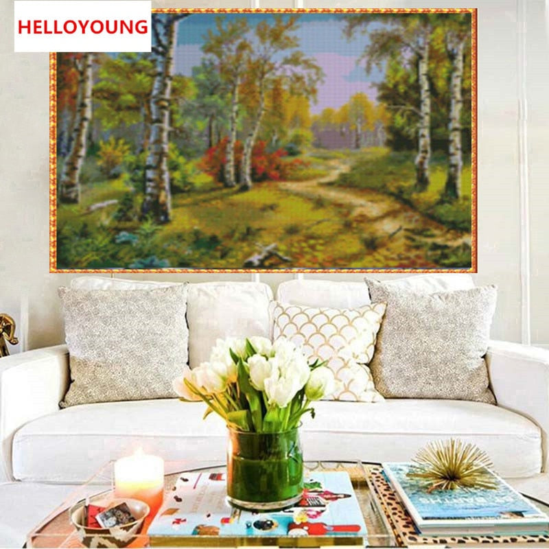 DIY Full 5D Diamond Embroidery The Forest Round Diamond Painting Cross Stitch Kits Diamond Mosaic Home Decoration