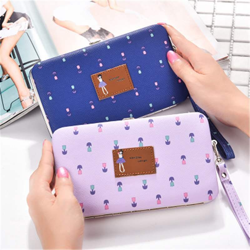 New cute flower wallet wrist band multifunctional lunch box mobile phone bag High-quality PU Fabric women's purse