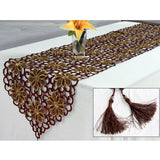 HELLOYOUNG Brown Table Runner Embroidered Flower Cutwork Fabric Tablecloth Wedding Banquet Party Decoration 4 Size