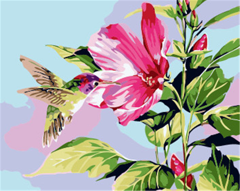 Bright flowers DIY Handpainted Oil Painting Digital Painting by numbers oil paintings chinese scroll paintings Home Decoration