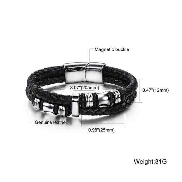 Brand Casual/Sporty Double Layer Genunie Leather Bracelets Bangles Fashion New 2016 Stainless Steel Magnet Jewelry For Men