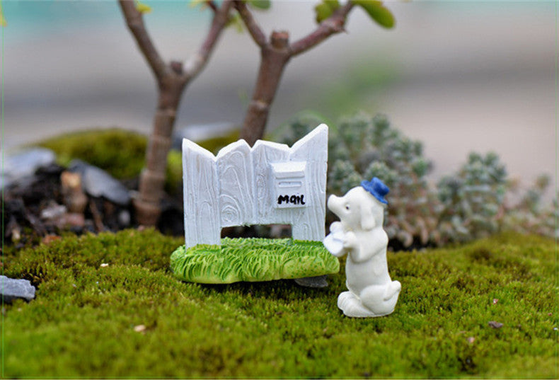 XBJ115 Mini Puppy mailbox decoration supplies moss micro landscape deco  Garden deco Creative handicrafts