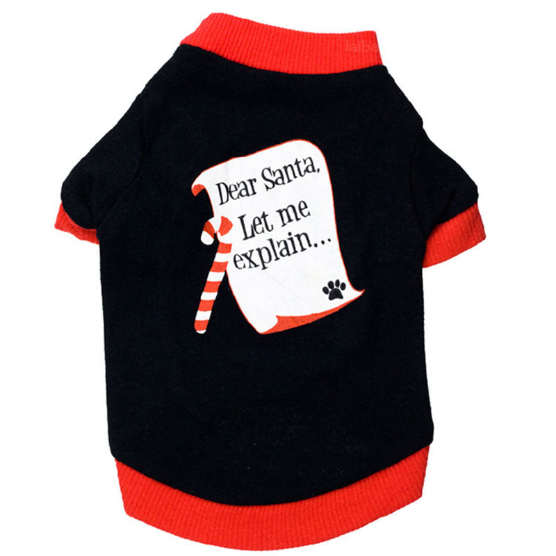 Dog clothes t-shirt chihuahua Pet coat to christmas letter Dear santa let me explain pet dog clothes coat For Medium Small Dogs