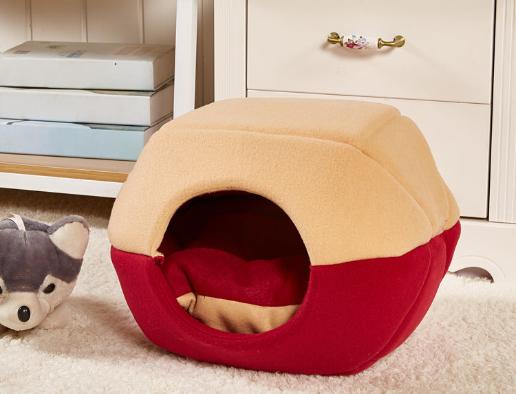 2 Uses Foldable Soft Warm Cat Dog Bed House Pet Cave Puppy Sleeping Mat Pad Nest Pet Beds Dog Blanket Animal Sleep Cat Bed House