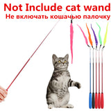 5pcs Colorful Pet Kitten Cat Teaser Replacement Refill Plush With Bell Training Cat Teaser Wand Cat Toy Pendant Cats Products