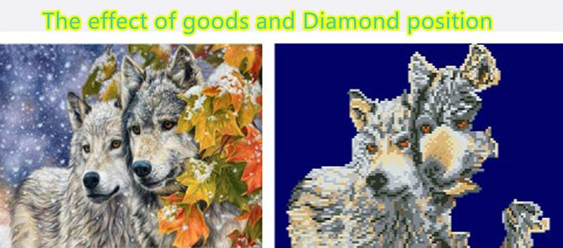 DIY Partial 5D Diamond Embroidery The Wolfs Round Diamond Painting Cross Stitch Kits Diamond Mosaic Home Decoration
