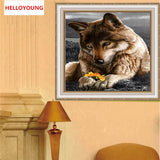 DIY 5D Diamond Embroidery The Dog and Floewr Round Diamond Painting Cross Stitch Kits Diamond Mosaic Home Decoration