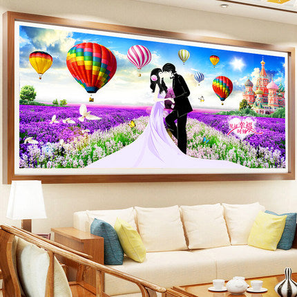 DIY 5D Full Diamond Embroidery Love with purple laven Diamond Painting Cross Stitch Kits Diamond Mosaic Home Decoration