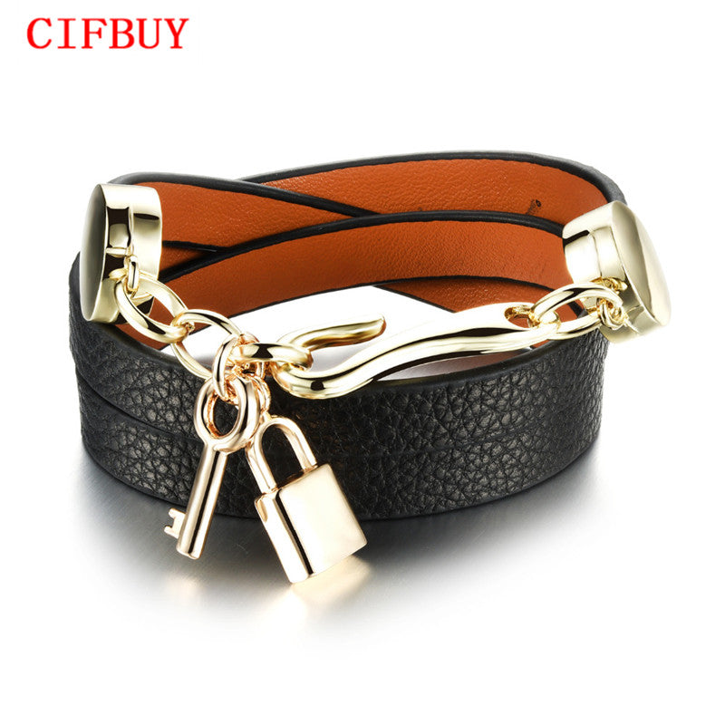 CIFBUY Handmade Woman Wrap Bracelets New Fashion Leather + Stainless Steel Lock Key Pendant Women Jewelry Accessories PH1072