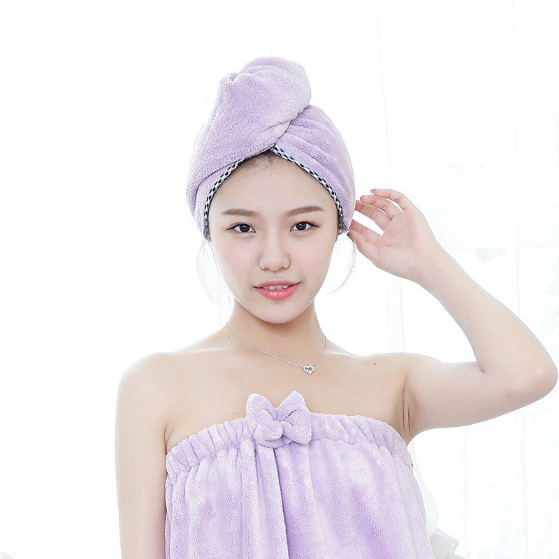 HELLOYOUNG Soft Women Bathroom Super Absorbent Quick-drying Microfiber Bath Towel Hair Dry Cap Salon Towel 25x65cm