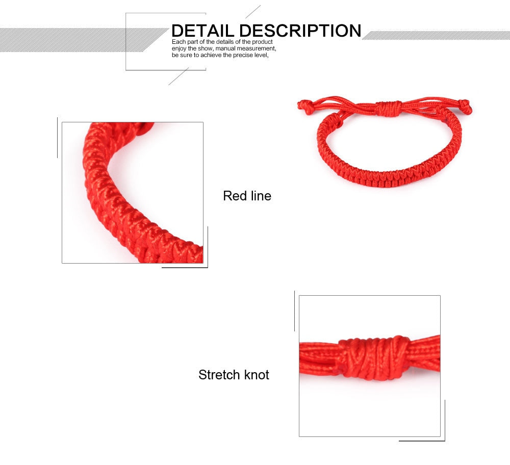 CIFBUY Handmade Double Layer Chinese Red Bracelets Lucky Adjustable Woman Charm Bracelet Rope Chain Women Jewelry HS005