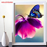 DIY 5D Full Diamond Embroidery The Butterfly Flower Round Diamond Painting Cross Stitch Kits Diamond Mosaic Home Decor