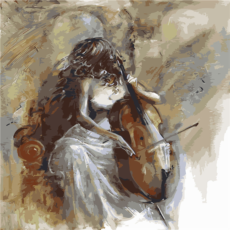 HELLOYOUNG Digital Painting Handpainted Oil Painting Violin beauty by numbers oil paintings chinese scroll paintings Home Decor