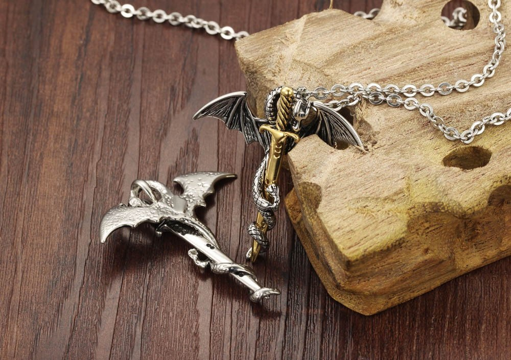 Personality Dragon & Sword Man Pendant Necklaces Punk Silver/ Gold Color Stainless Steel Men Jewelry Free Link Chain GX937J