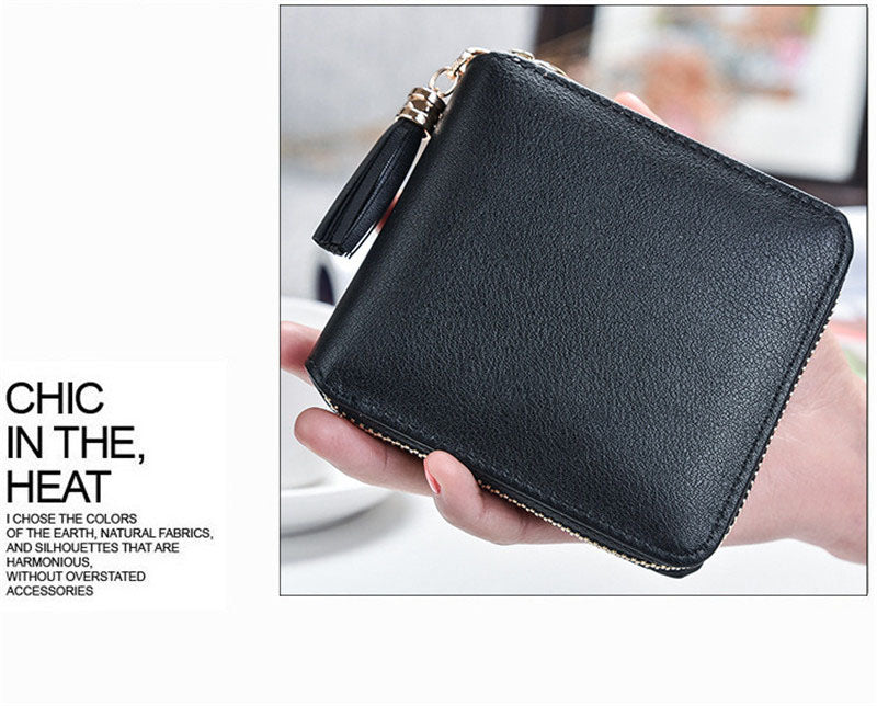 New Korean version  simple square lady wallet High-quality PU leather Short zipper purse fringed mini women's purse