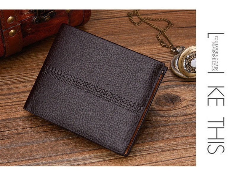 RFID Shield Scan Wallet Vintage High quality PU leather clutch Card & ID Holders Men's Short Stripe Wallet