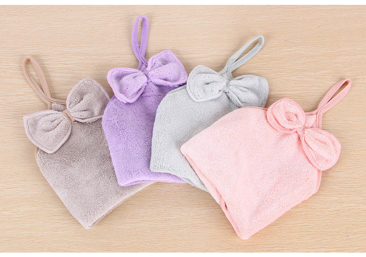 HELLOYOUNG Lovely Bowknot Super Soft Absorbent Microfiber Hand Towel Hanging Bathroom Kitchen Towel Cleaning Cloth 30x30cm