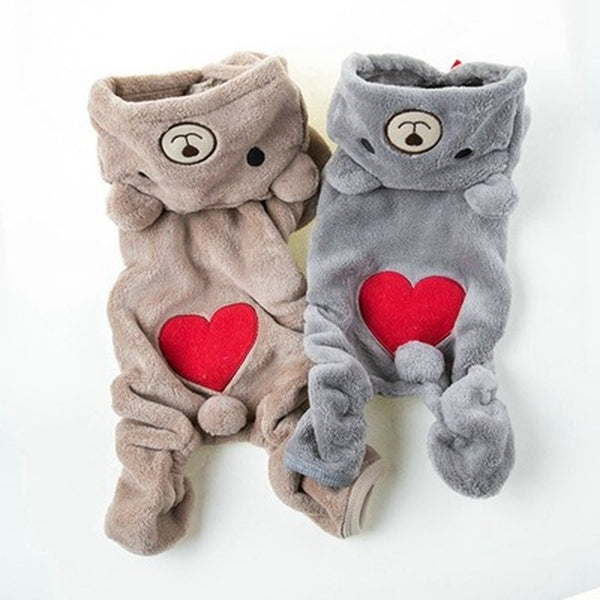 Cute Pet Dog Clothes For Small Dogs Warm Fleece Bear Clothes Pet Costume Winter Puppy Clothing Hooded Jacket For Dog