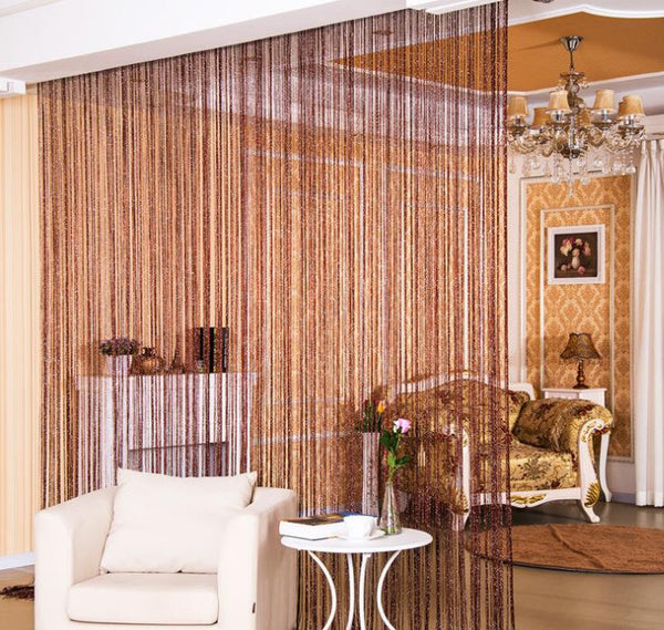 2.9x2.9m Shiny Tassel Flash Silver Line String Curtain Window Door Divider Sheer Curtains Valance Home Decoration