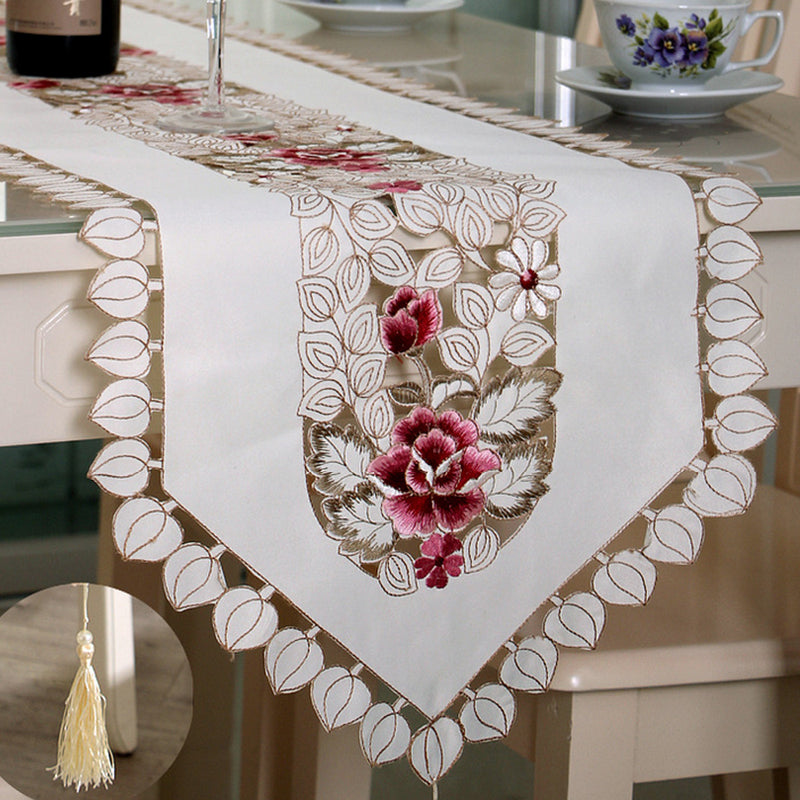 HELLOYOUNG Vintage Embroidered Peony Satin Fabric Cutwork Wedding Banquet Table Runner Dresser Scarf 4 Size