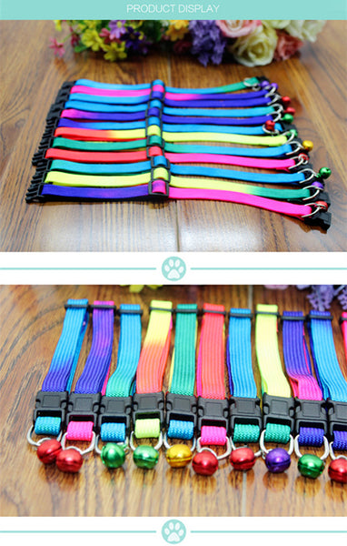 Fashion Colorful Pet dog cat Collar nylon cat dog Neck Collar with bell adjustable dog collar for small animals pet products