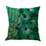 45cm*45cm Colorful Cushion Cover Peacock Feather Printed Pillow Cover Square Linen Cushion Case Sofa Bed Home Car Decorative