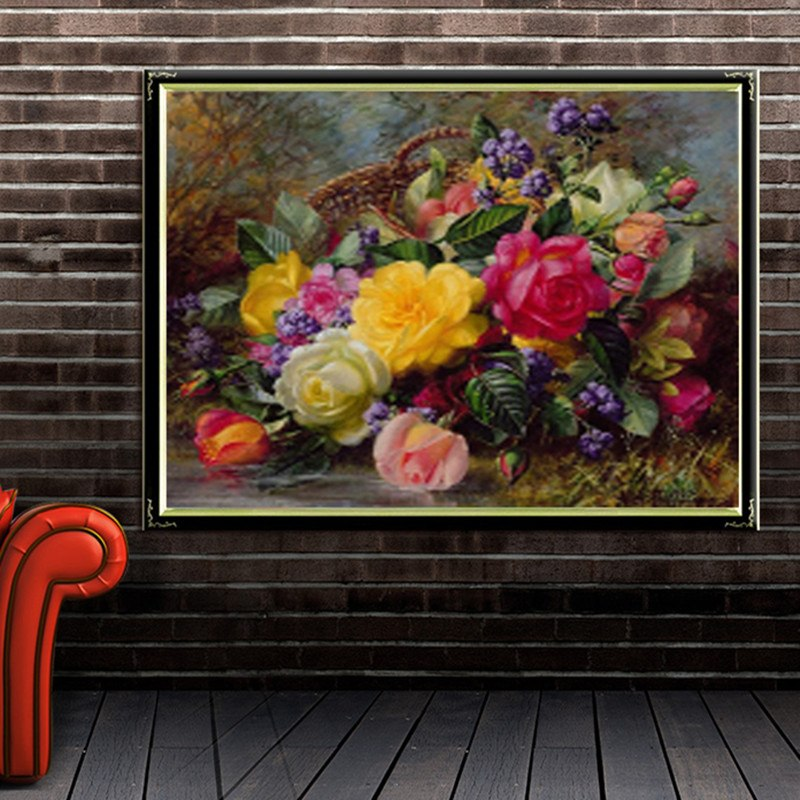 DIY 5D Full Diamond Embroidery Beautiful Flower Round Diamond Painting Cross Stitch Kits Diamond Mosaic Home Decor