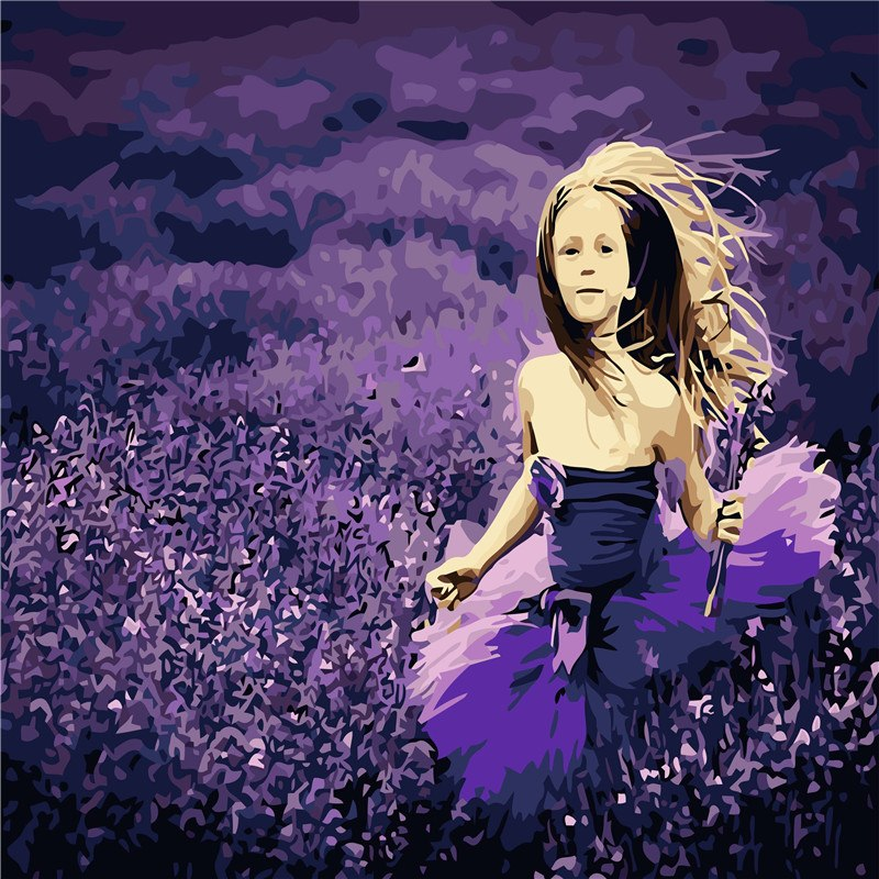 HELLOYOUNG Digital Painting Handpainted Oil Painting Lavender Girl by numbers oil paintings scroll paintings picture drawing
