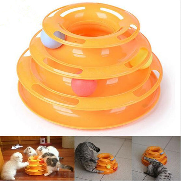 CW032 Creative Pet Cat Toy Luxury Cat Interactive Pet Toy Training Amusement Plate Trilaminar Crazy Ball Disk Play Activity Game